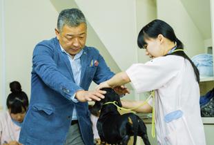 <ハンドリング実習> ドッグショーで、審査員に上手に犬を見せる技術を習得します。