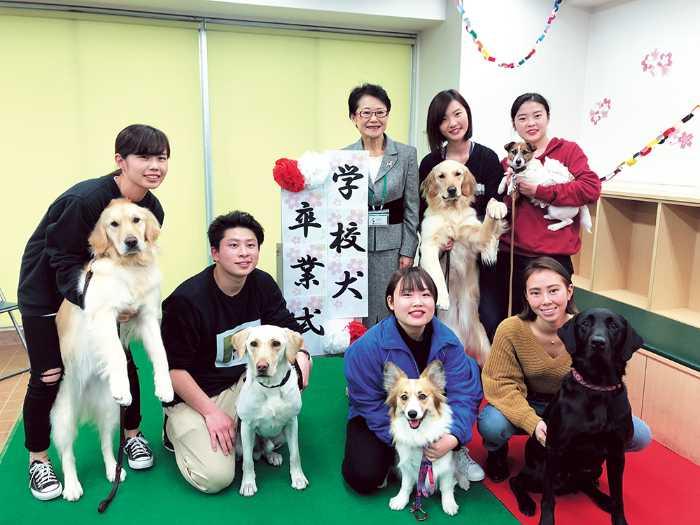 ドッグスペシャリスト学科は担当犬の卒業式があります!学生と一緒にした入学した担当犬たちの卒業後は、学生たちと相談して卒業後の引き取り先を決めて、家庭犬として卒業後は過ごします!